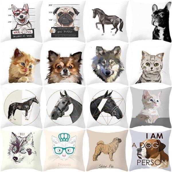 best selling Animal Ins Home Small Fresh Cartoon Square Household Goods Peach Skin Velvet Car Office Pillow Cushion Cover