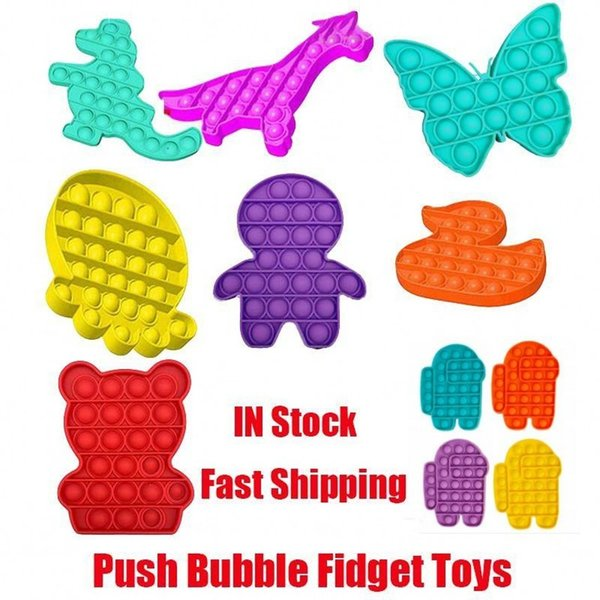 best selling Among us Pop It Fidget Toy Sensory Push Bubble Fidget Sensory Toy Autism Special Needs Anxiety Stress Reliever for Students Office Workers