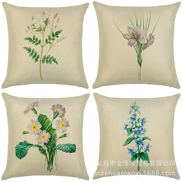 best selling Products Plant Flowers Campanulata Pillow Household Cover Linen Car Cushion Waist Pillow Cover