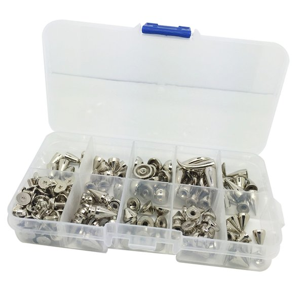 top popular 90 Set Punk Decorative Cone Spikes Screwback Studs Case Kit 2021