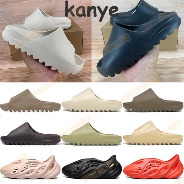 top popular 2020 Men women kanye slide bone core desert sand resin soot earth brown mens foam runner sandals triple white black red cheap slippers 2021