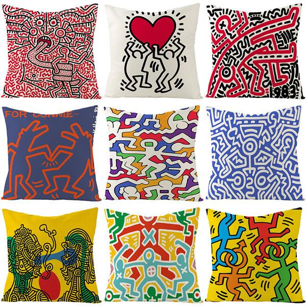 best selling Case Linen Pillow Case Cartoon Harlem Hand Painted Love Pillow Case Furniture