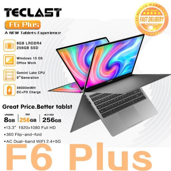 "top popular Newest Teclast laptop F6 Plus 13.3"" Notebook 1920×1080 IPS Gemini Lake N4100 Windows10 8GB RAM 256GB SSD 360° Rotation touch 2020"