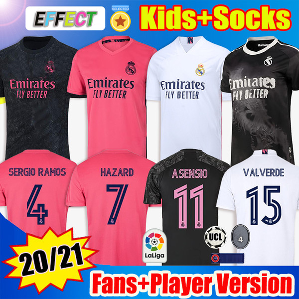 best selling MEN Kids +Socks Real Madrid Soccer Jersey Fourth 20 21 HAZARD ASENSIO SERGIO RAMOS Camiseta 2020 2021 VINI JR MENDY Player Football Shirts