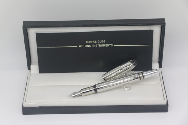 top popular High quality Classi Metal silver grid body Fountain pen with series number school&office stationery writing pen 2021