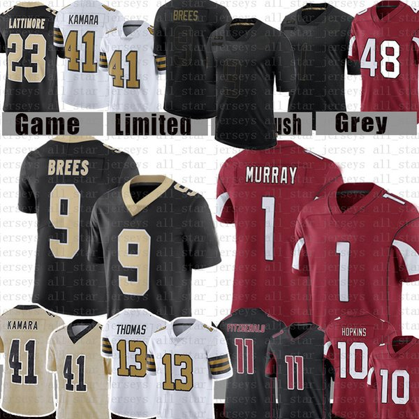top popular 1 Kyler Murray Drew Brees 41 Alvin Kamara Football Jersey 13 Michael Thomas Larry Fitzgerald DeAndre Hopkins Taysom Hill Marshon Lattimore 2021