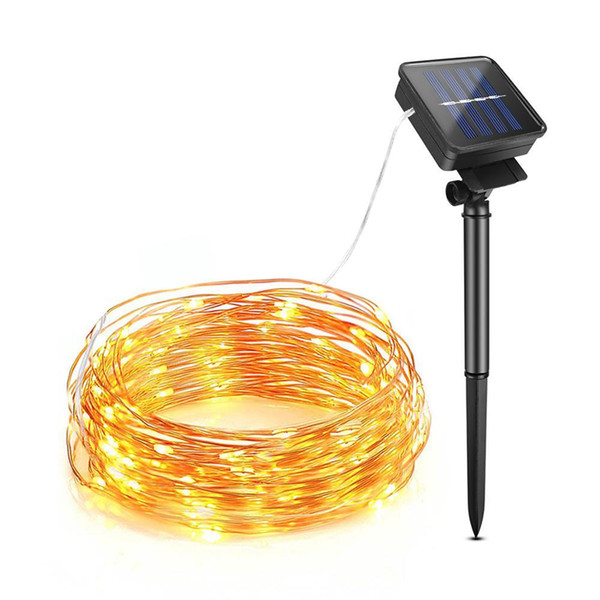 top popular 10M 20M Solar Power Outdoor lights LED Garden Lawn lamp Fairy Copper Wire LED String Decorative Holiday Wedding Party Christmas C1004 2021