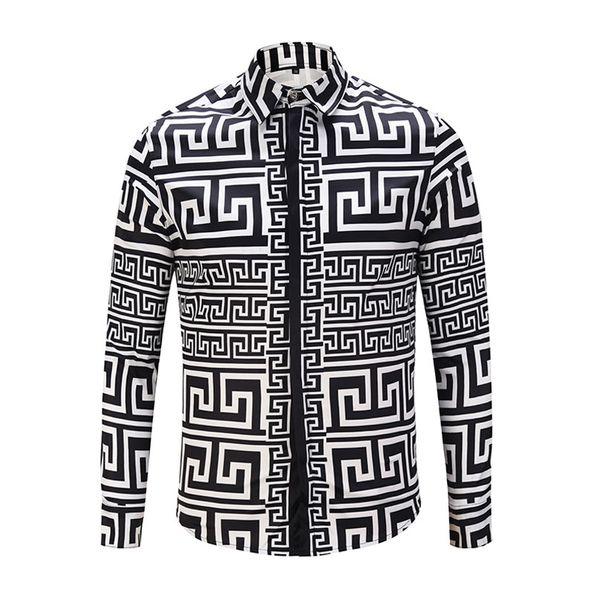 top popular Men's Casual Shirts Luxury Fashion Men Dress Shirts Gold Floral Print Cotton Silk Slim Fit Shirts Clothing 2021