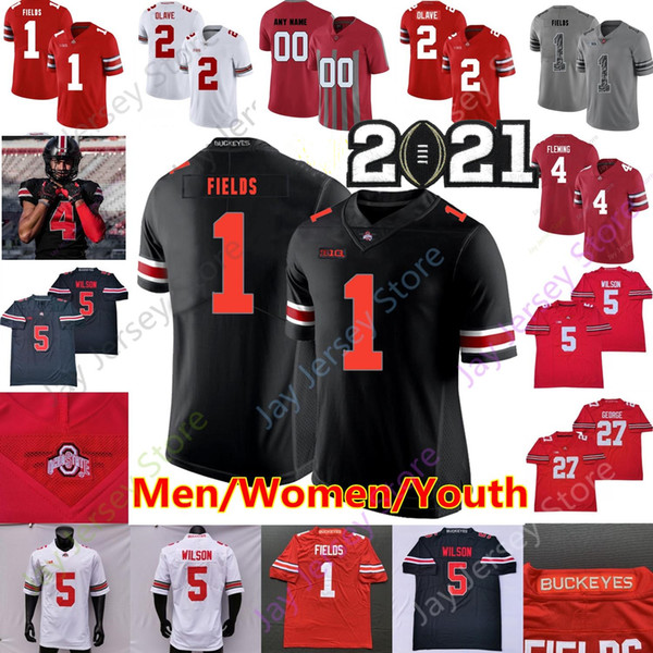 top popular Custom 2021 Ohio State Buckeyes Football Jersey Garrett Wilson Justin Fields George Teague III Chris Olave Julian Fleming Browning Wade Kid 2021