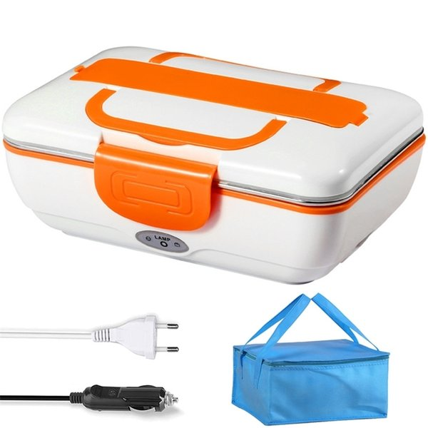 top popular 110V 220V 12V 24V Heated Electric Lunch Box Stainless Steel Rice Food Warmer Container Car Home EU Plug Heating Bento Box Set 201210 2021