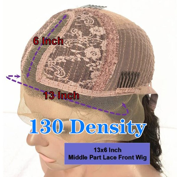 130 Densità 13x6 parrucca Medio Parte