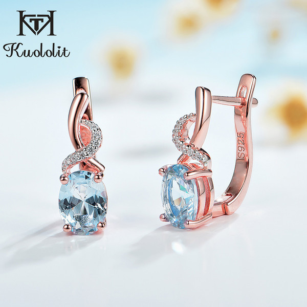 top popular Kuololit 585 Rose gold Topaz Gemstone Luxury Clip Earrings for Women Genuine 925 Sterling Silver Emerald London blue Morganite LJ201014 2021