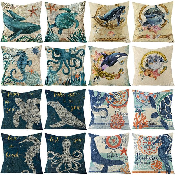 top popular Pillow Household Marine Life Cover Flax Combined with Car Pillow Cushion Cover 2021