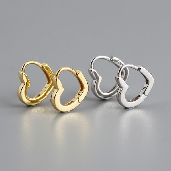 Februaryfrost Brand Designer 100% 925 Sterling Silver Heart-shaped Stud Earrings for Women Fashion Designer Women Simple Earrings