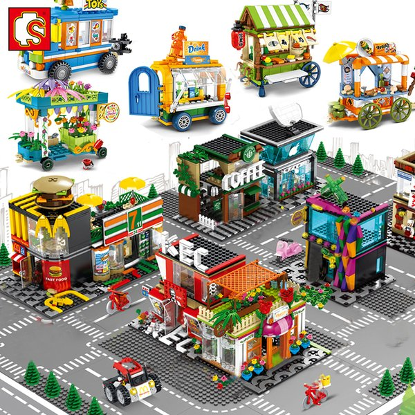 best selling Sembo City Street View Mininature Food Shop Retail Store Cafe Restaurant Architecture House Building Blocks Construction Toysq1221