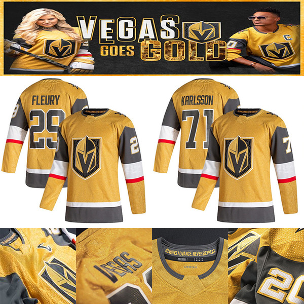 top popular Vegas Golden Knights 2020-2021 Gold Third Jersey 29 Marc-Andre Fleury 61 Mark Stone 67 Max Pacioretty 75 Ryan Reaves Hockey Jerseys 2020