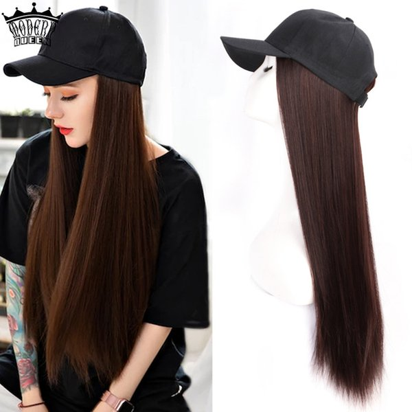 heap Weave Long Synthetic Baseball Cap Hair Wig Natural Black   Brown Straight Wigs Naturally Connect Synthetic Hat Wig Adjustable For G...