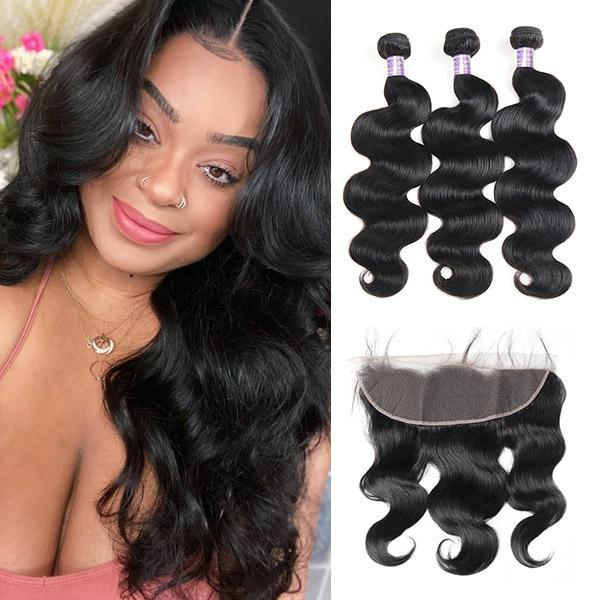 top popular Ishow Brazilian Body Wave 3 4 Bundles with Lace Frontal Peruvian Loose Deep Kinky Curly Human Hair Bundles with Closure Straight Water 2021