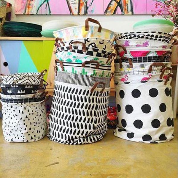 best selling 18color Ins Storage Baskets Bins Kids Room Toys Storage Bags Bucket Clothing Organizer Laundry Bag Canvas Organizer Batman Polka Dot Laundry