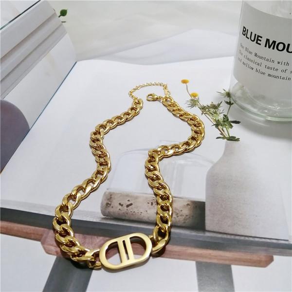 top popular 316L titanium steel gold-plated double D letter necklace suitable for men women's bracelets necklaces jewelry 2021