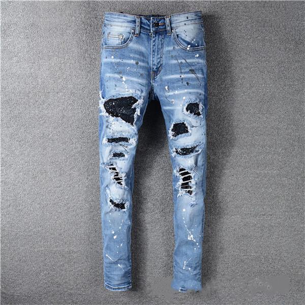 best selling 2020 Top High Quality Designer Mens Jeans Motocycle HolesLuxury Denim Men Fashion Streetwear men's clothing designer pants