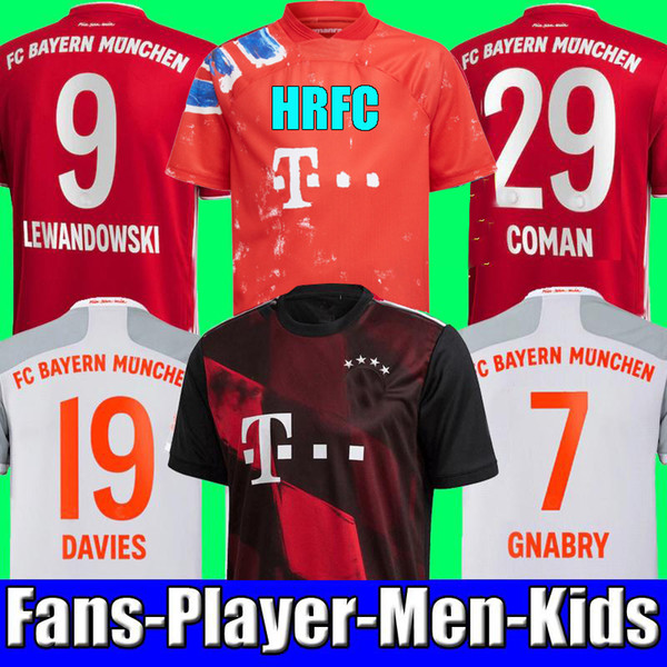 best selling 20 21 fans player version SANE LEWANDOWSKI COMAN Bayern Munich Gnabry Soccer jersey 2020 2021 Football shirt NIANZOU MUNCHEN KIDS uniform