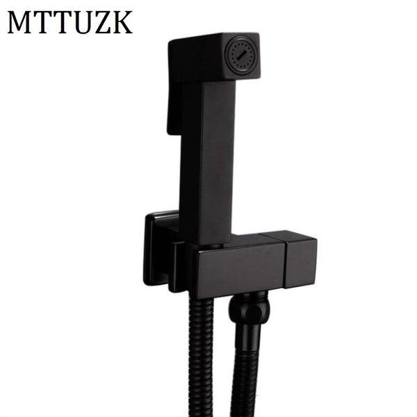 best selling Brass Matte Black Square Bathroom Hand Toilet Sprayer Hygienic Shower Tap Wall Mounted Bidet Faucet Set C0127
