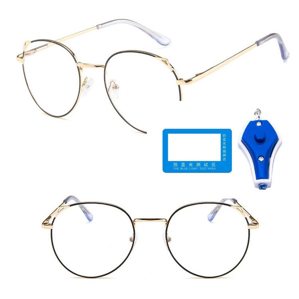 best selling 1 USD Large Quantity Anti blue light Eye Glasses Metal Optical Frames Cat Ear Round Shape