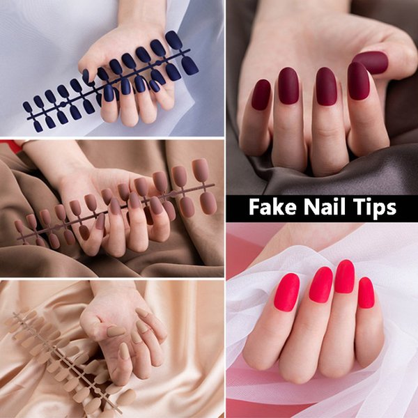 best selling 24 Pcs set Fake Nail Tips Full Cover Pink Blue Black Mixed Colors Matting Effect Natural ABS Artificial Nail Art Design Tools