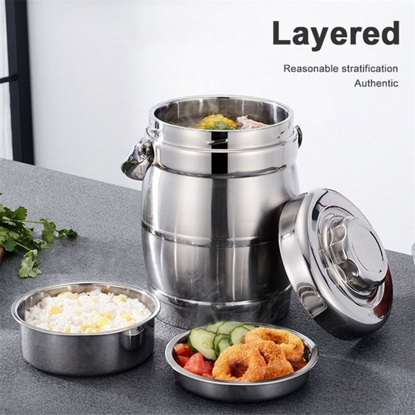 top popular Stainless Steel Lunch Pail Food Container Layered Lunch Box Vacuum Insulated Thermo Soup Bento Lunch Box 201210 2021