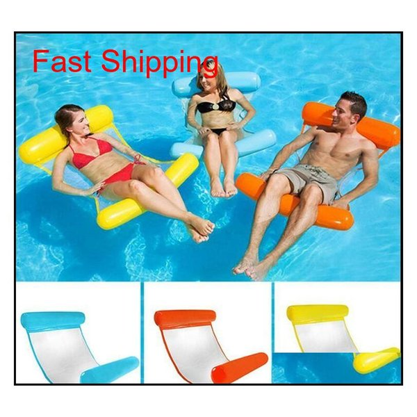 best selling Summer Swimming Pool Inflatable Floating Water Hammock Lounge Bed Chair Summer Inflatable Pool Float Floating Bed Istg3