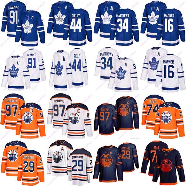 top popular Toronto Maple Leafs jersey 91 Tavares 16 Marner 34 Matthew 44 rielly Edmonton Oilers jerseys 97 McDavid 74 Bear 29 Draisaitl Hockey Jerseys 2020