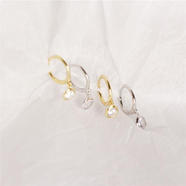 Februaryfrost Brand Designer 100% 925 Sterling Silver Small Round CZ Pendant Stud Earrings for Women Fashion Designer Women Simple Earrings