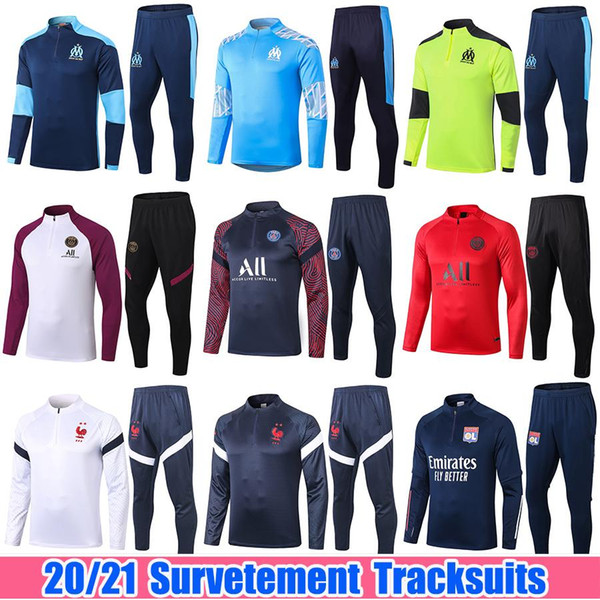 best selling 2020 2021 Real Madrid Men Football Training Suits 20 21 Marseille Paris MBAPPE Survetement Soccer Tracksuit Maillots de Foot Chandal Kit