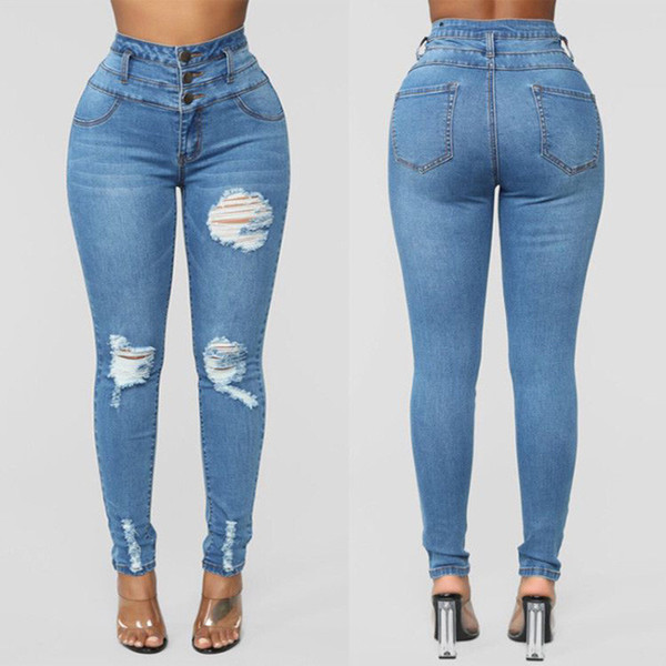 top popular High quality European and American womens jeans high waisted stretch pants ladies new style jeans size S-3xl 2021
