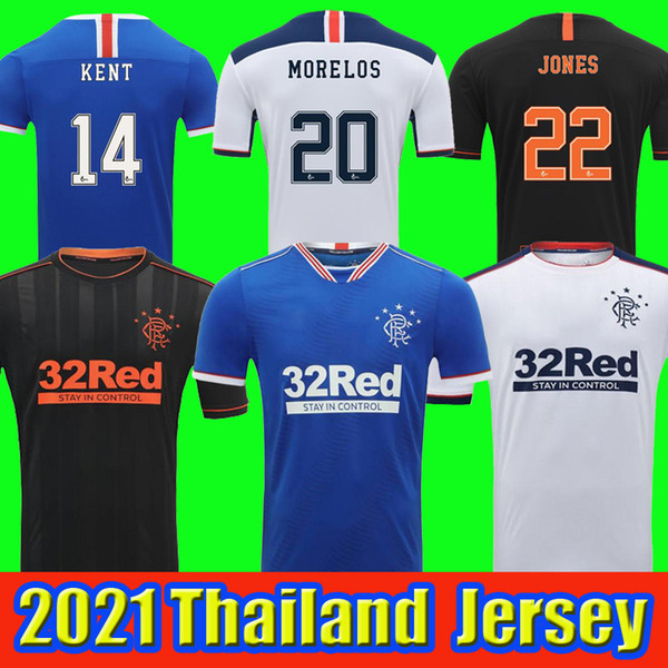 top popular 2020 2021 Glasgow Rangers fc home third away Soccer Jerseys 20 21 DEFOE HAGI MORELOS TAVERNIER Rangers Football Shirts Men + kids kit 2021