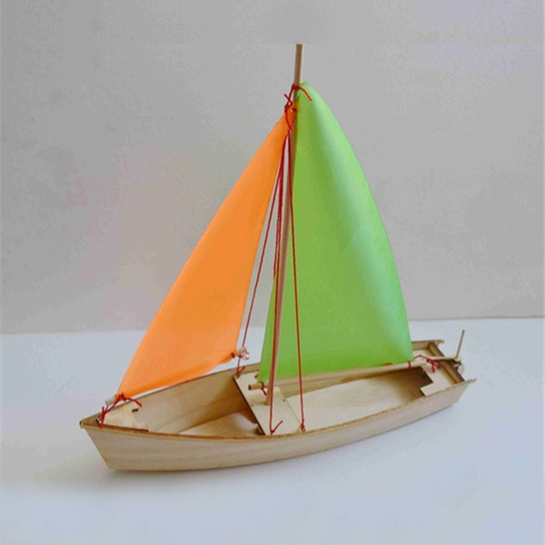 best selling Free shipping DIY Sailboat Model Toys Wooden material Laser Engraving Process Creative Handmade Toys Model ship Educational Toy Y200428
