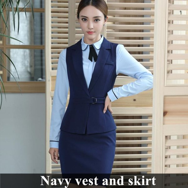 Navy Vest And Skirt