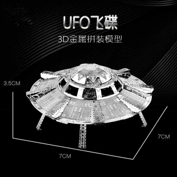 best selling Metal DIY Free Glue Assembling Model 3D Stereoscopic Mini Puzzle Spaceship Flying Saucer UFO Refined and Creative Toy Best Gift Y200421