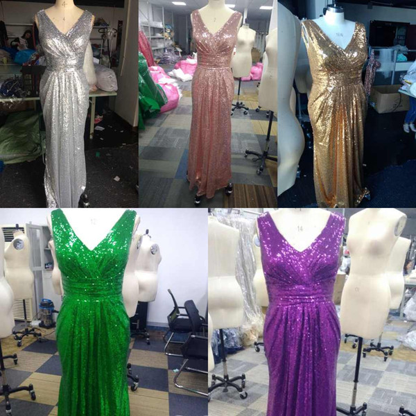 top popular Shiny Sequins Sparkly Mermaid V-neck Bridesmaid Dresses Plus Size Long Wedding Party Guest Gowns Custom Made 2021