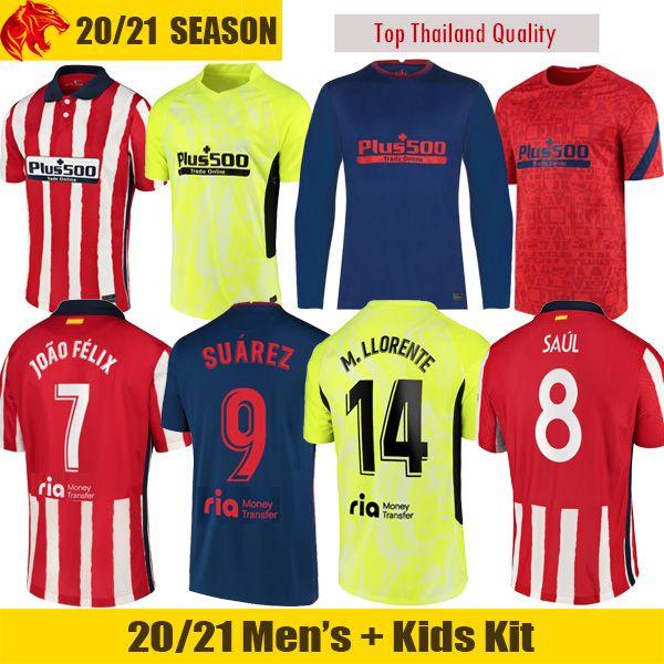 best selling JOAO FELIX Atletico Madrid Soccer Jerseys 2020 2021 SAUL Camisetas SUAREZ LLORENTE CORREA Football Shirt Mens Short Long Jersey Kids Kit