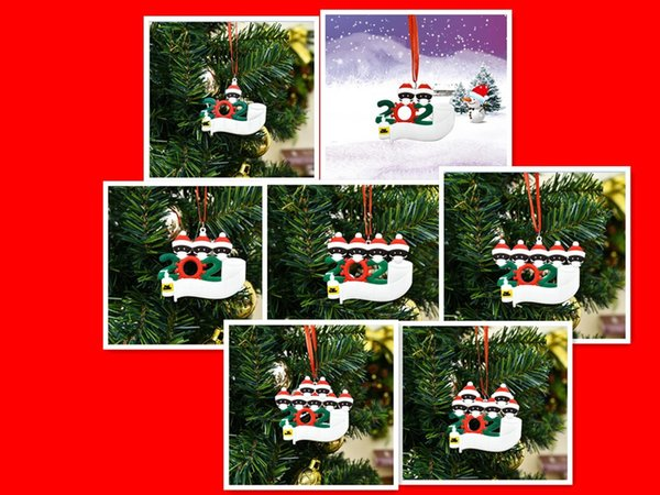 top popular Christmas Ornament for black family Birthday Party Decoration Pendant 2020 Quarantine Family Of 1-7 hangs Ornament Pandemic Hand Sanitized 2020