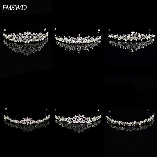 top popular New Vintage Handmade Rose Gold Silver Color Crystal Pearl Crown Small Tiara Princess For Wedding Bride Hair Accessories Jewelry 2021