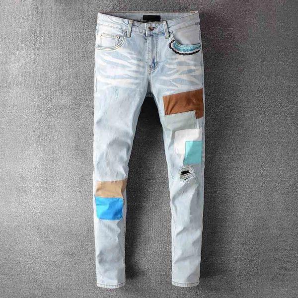 top popular Mens Jeans Classic Hip Hop Pants Stylist Jeans Distressed Ripped Biker Jean Slim Fit Motorcycle Denim Jeans HJ3 2021