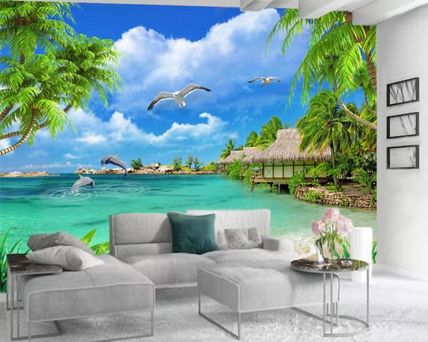 top popular Wallpaper 3D HD Coconut Tree Beautiful Sea Scenery Living Room Bedroom Background Wall Decoration Mural Wallpaper 2021