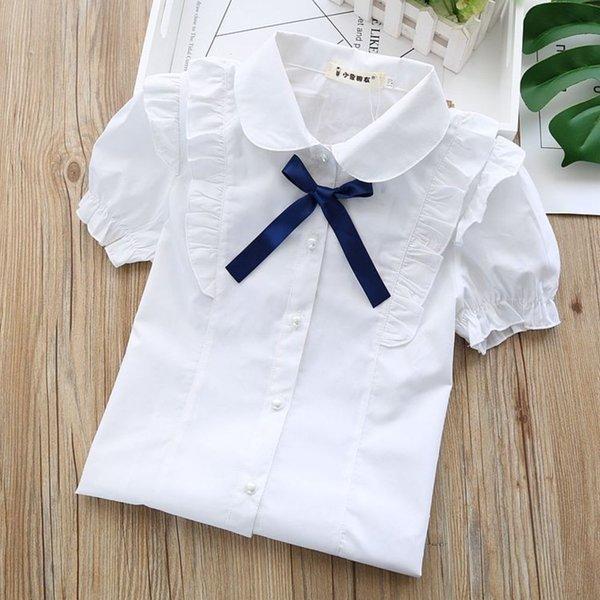 Mouche à manches courtes en dentelle multicouche + cravate bleu marine