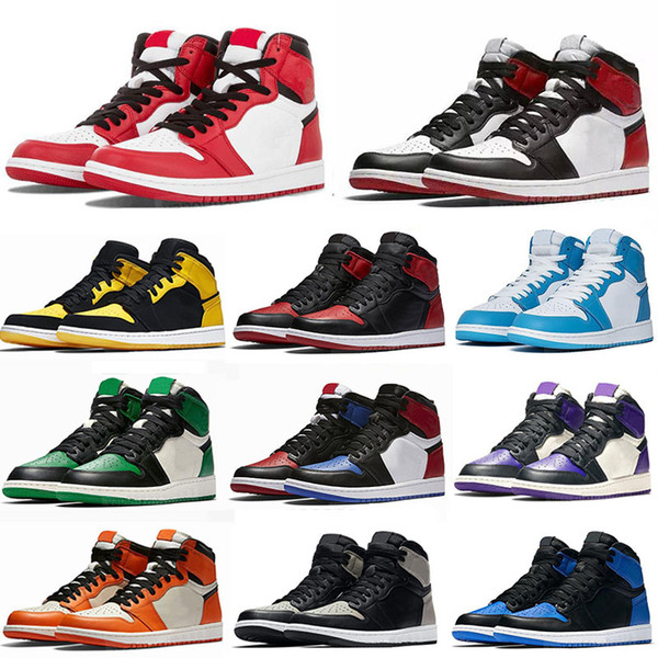 best selling New High OG 1 basketball shoes 1s mid chicago royal toe black metallic gold pine green black UNC Patent men women Sneakers trainers