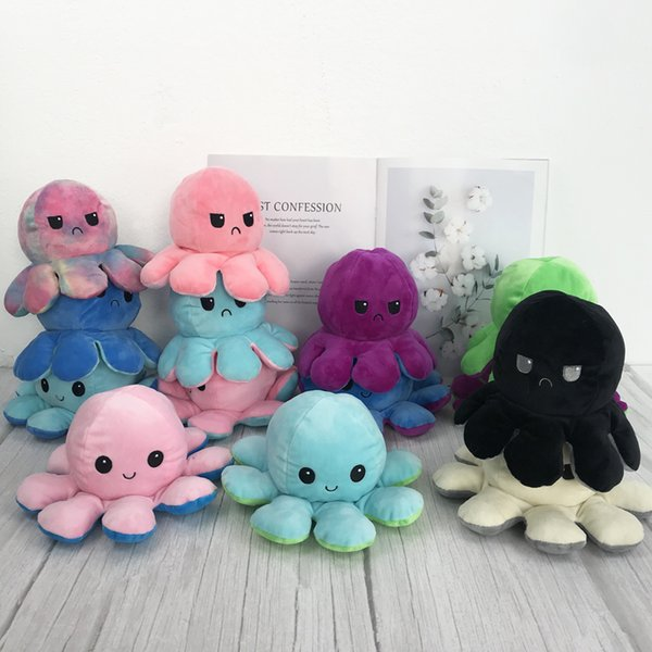 top popular Reversible Flip octopus Plush Stuffed Toy Soft Animal Home Accessories Cute Animal Doll Children Gifts Baby Companion Plush Toy 2021