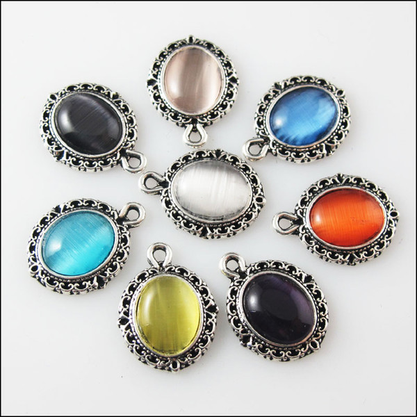 16Pcs Mixed Retro Tibetan Silver Stone Oval Charms 13.5x18mm Pendants Jewelry & Accessories Cheap Pendants