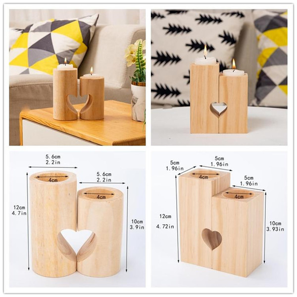 best selling Wooden Tea Light Candle Holder Heart Hollowed-out Candlestick Romantic Table Decoration For Home Birthday Party Wedding Decoration AHA1665